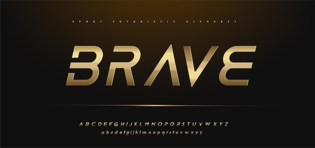 Polices de typographie futuriste alphabet or brillant moderne