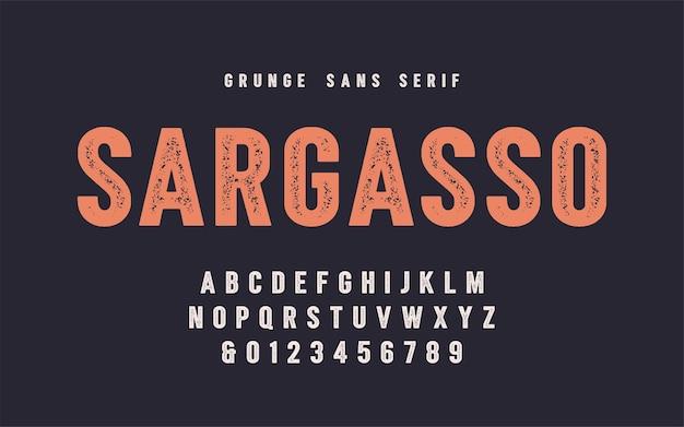 Polices vectorielles sargasso grunge san serif, alphabet, police de caractères, lettres majuscules et chiffres. nuancier global.
