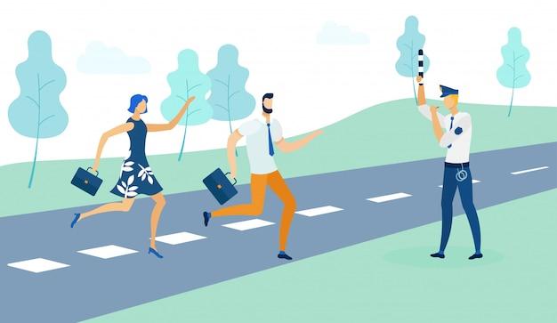 Un policier arrête des personnes qui traversent un chemin plat.