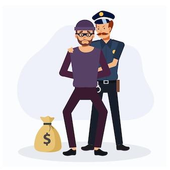 Un policier a attrapé le voleur. illustration de personnage de dessin animé criminel, plat de vecteur.