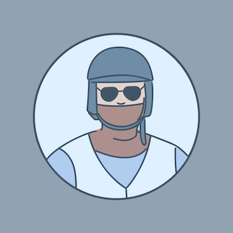 Policier dans une illustration de dessin animé de masque.