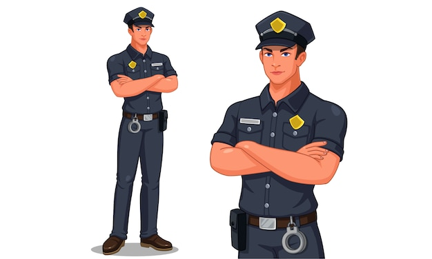 Policier, debout, pose, illustration vectorielle