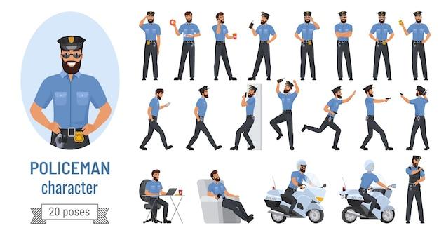 Policier de dessin animé pose collection