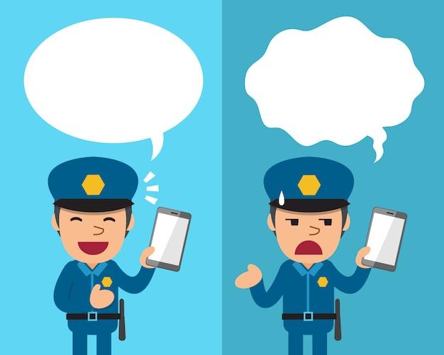 Policier de dessin animé avec smartphone exprimant différentes émotions avec des bulles