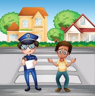 Policier enregistrant un incident criminel sur la route