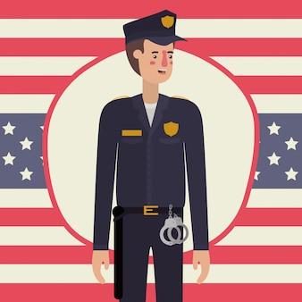 Policier en fête du travail