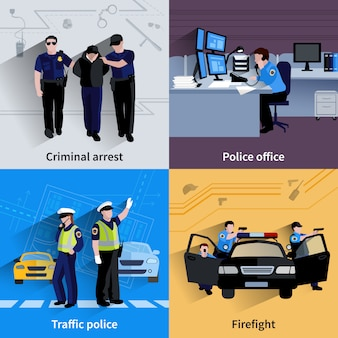 Policier gens 2x2 compositions