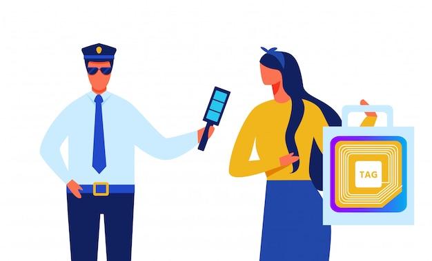 Un policier identifie une dame avec une étiquette rfid