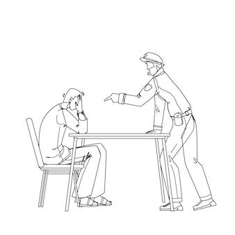 Policier interrogatoire criminel prisonnier