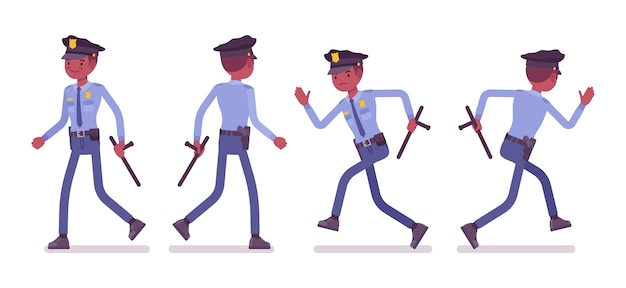 Policier marchant et courant bannière