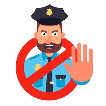 Policier montre un panneau d'arrêt avec sa main. signe d'interdiction à la main. illustration plate sur fond blanc.