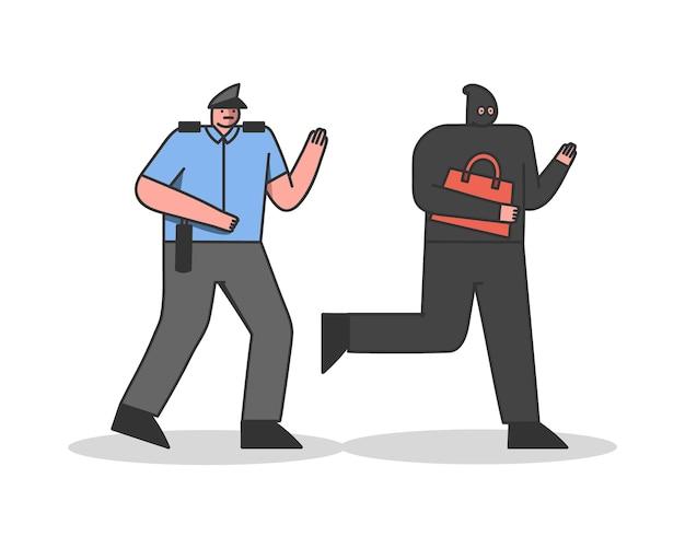 Un policier poursuit un voleur avec un sac voleur en masque fuyant un flic