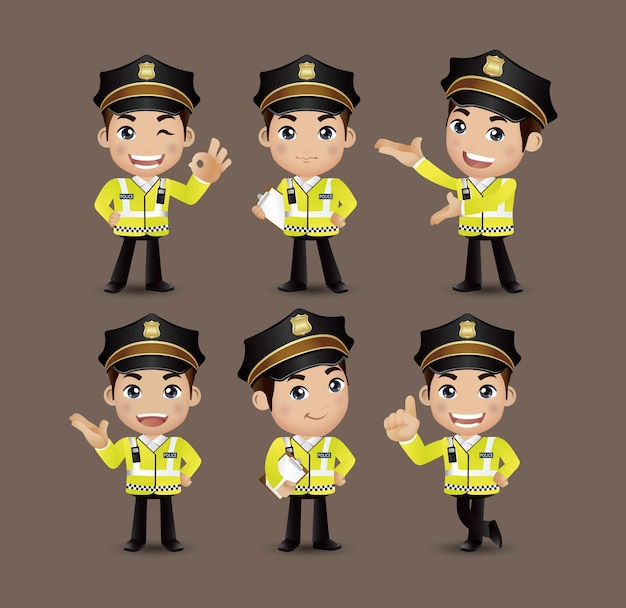 Policier de profession avec des poses différentes
