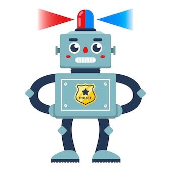 Policier robot avec un flasher sur sa tête