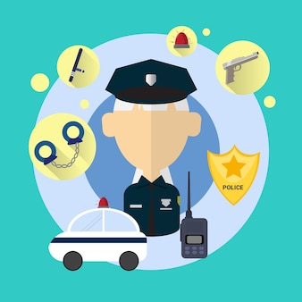Policier senior femme icône plate vector illustration