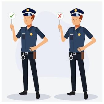 Policier tenant le bon signe et le mauvais signe. pleine longueur, personnage de dessin animé de vecteur plat.
