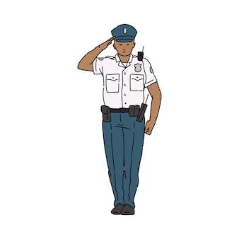 Policier en uniforme chemise blanche homme personnage de dessin animé saluant