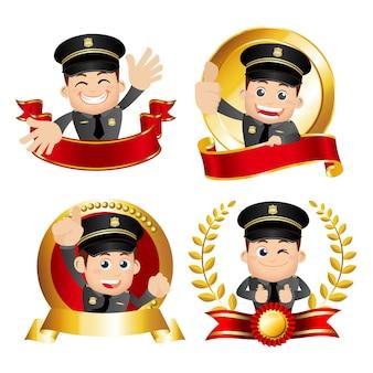 Policier de la victoire avec des poses différentes