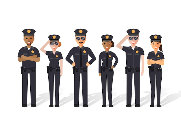 Les policiers et les femmes.