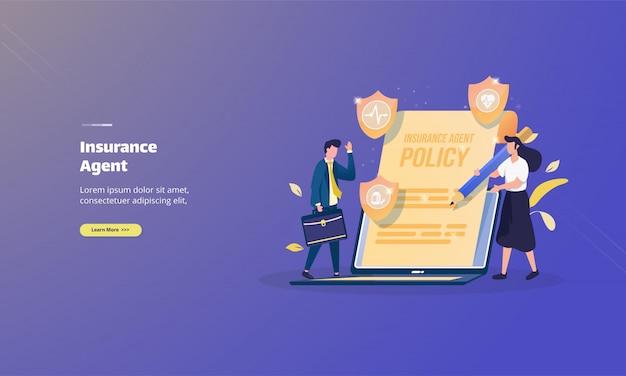 Politique et accord avec l'agent d'assurance sur le concept d'illustration