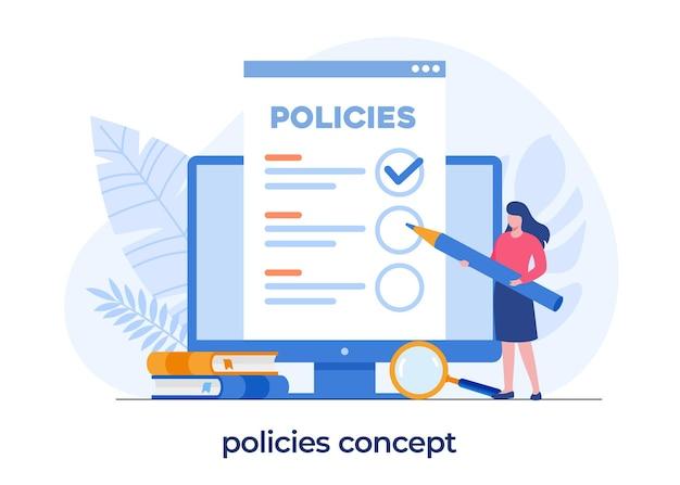 Les politiques forment le concept, la réglementation et la procédure, vecteur d'illustration plat