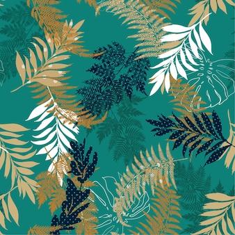 Polka dot leaves seamless vector pattern
