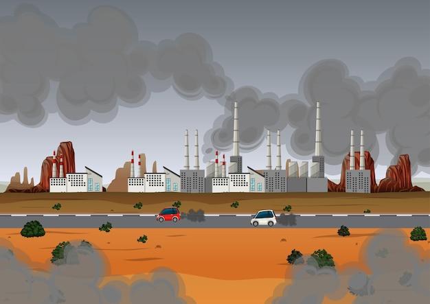 Pollution de l'air avec l'usine et les voitures