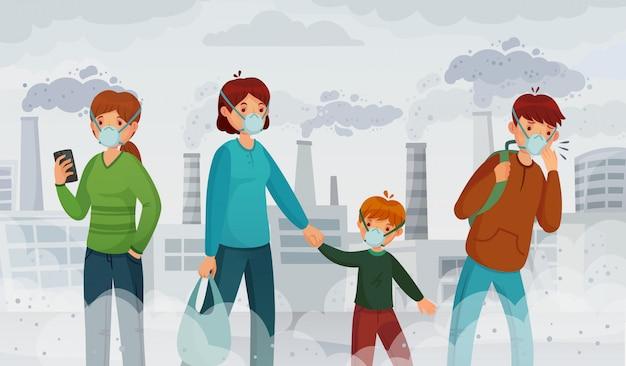Pollution de l'air de la ville. polluants de smog, environnement de suffocation et passant dans l'illustration de masques respiratoires
