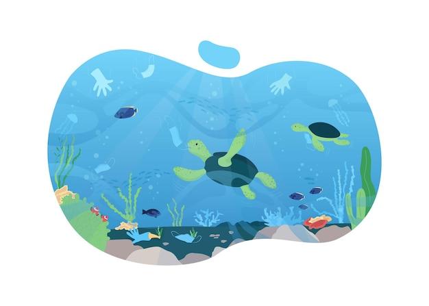 Pollution de l'eau 2d . poubelle de masques en plastique. environnement polluant après covid flat