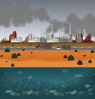 Pollution de l'eau avec des sacs en plastique dans la rivière