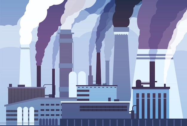 Pollution par le smog. tuyaux d'usine industrielle, émission de produits chimiques lourds.