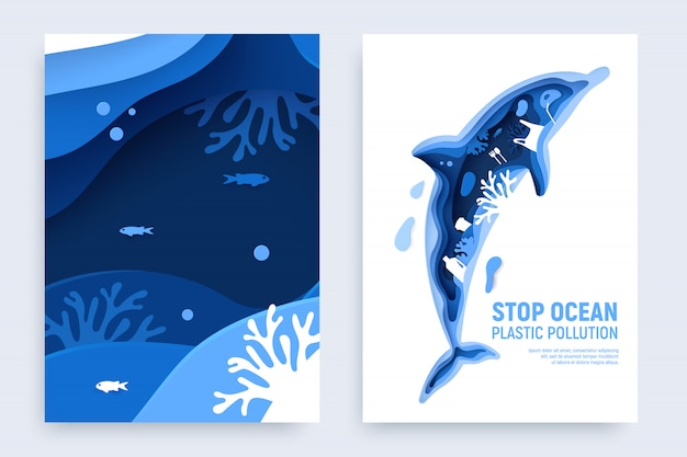 Pollution en plastique de l'océan sertie de silhouette de dauphin. dauphin coupé en papier avec des déchets en plastique, des poissons, des bulles et des récifs coralliens isolés sur fond blanc.