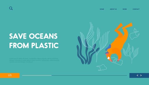 Pollution plastique de la page de destination du site web de l'eau de mer.
