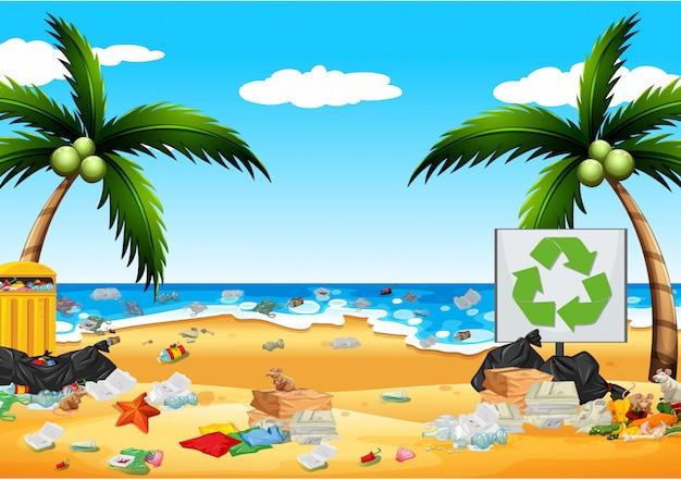 Pollution avec des sacs en plastique sur la plage