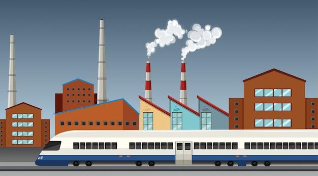 Pollution de la scène à thème de l'usine dans la nature