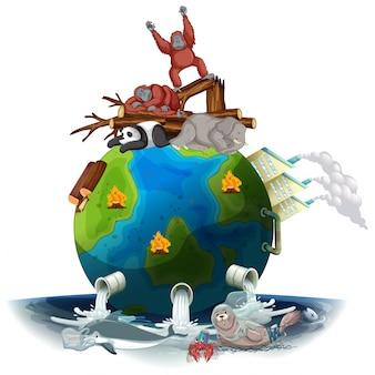 Pollutions sur la terre avec des animaux mourants