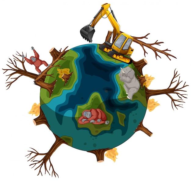 Pollutions sur terre avec des animaux mourants