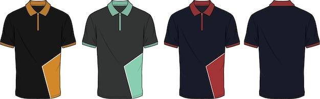 Polo de contraste design plat dessin technique illustration vectorielle