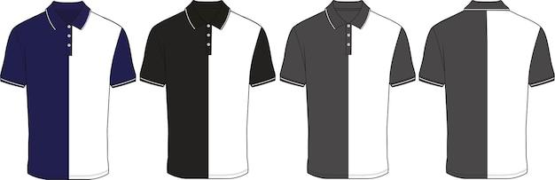 Polo noir et blanc design plat dessin technique illustration vectorielle