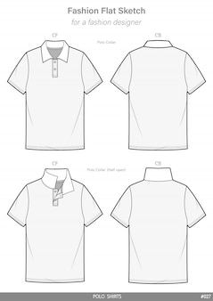 Polo shirts gabarit de dessin technique plat de mode