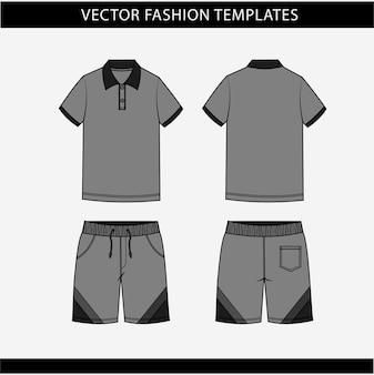 Polo short et pantalon fronde et vue arrière