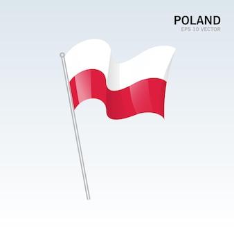 Pologne, agitant le drapeau isolé sur gris