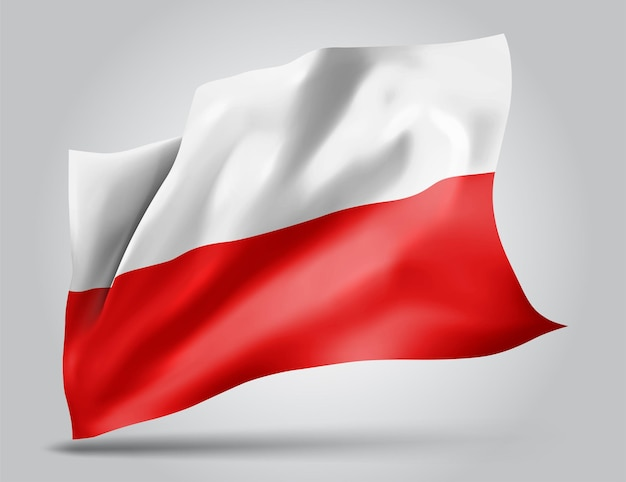Pologne, drapeau vectoriel avec des vagues et des virages ondulant dans le vent sur fond blanc.