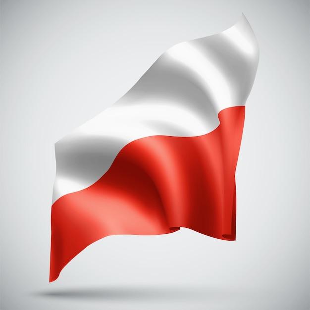 Pologne, vecteur 3d flag isolé sur fond blanc