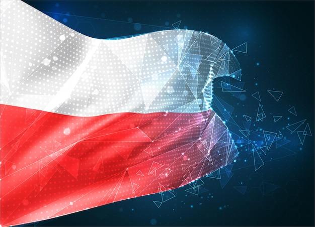 Pologne, vecteur drapeau 3d sur fond bleu avec interfaces hud
