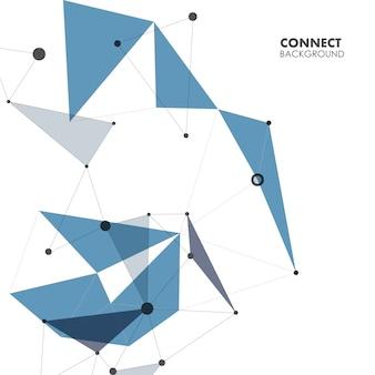 Polygonale abstrait avec fond de points et de lignes de connexion