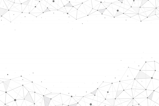 Polygonale géométrique abstraite avec points et lignes de raccordement sur fond blanc. vecteur il