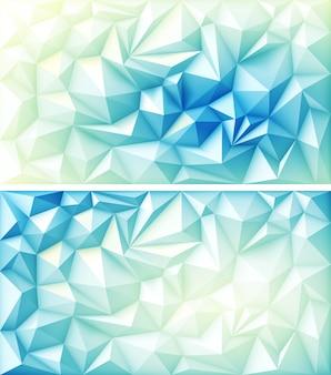 Polygone abstrait triangle géométrique polygonal multicolore sur fond bleu jaune