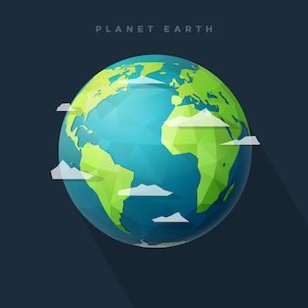 Polygone hémisphère terre ouest sur dark