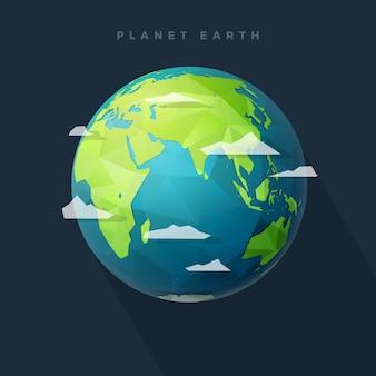 Polygone hémisphère terrestre est sur dark